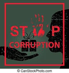 Stop corruption sign concept. Vector illustration. Global ...