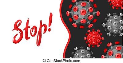 Stop Covid-19. Background with coronavirus molecule. Illustration of new virus symbol. Global pandemic.