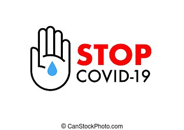 Stop Covid-19 banner. Wash hands Coronavirus prevention icon. Vector illustration.
