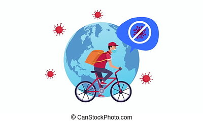 stop covid19 campaign with delivery worker in bicycle