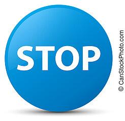Stop cyan blue round button