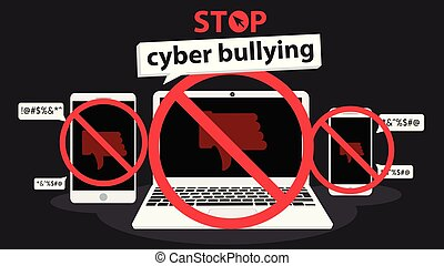 stop cyber bullying banner vector graphic