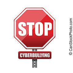 stop cyberbullying sign illustration design