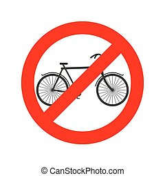 Stop cyclist. bicycle on red ring. Road sign ban bicyclist