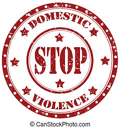 Stop Domestic Violence-stamp - Grunge rubber stamp with text...