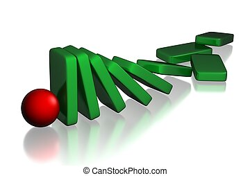 stop domino effect - conceptual set of collapsing domino...