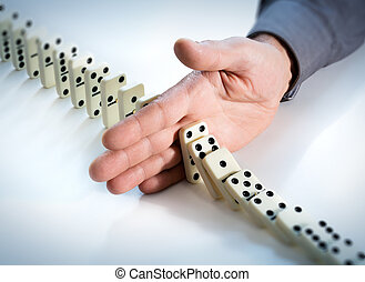 Stop Domino Effect - Hand Prevents Failure