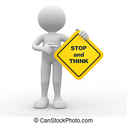 Stop - 3d people - man, person holding road sign of stop and...