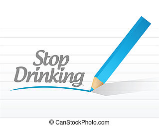 stop drinking message illustration design