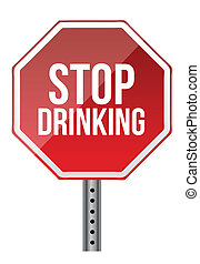 Stop drinking sign illustration design over a white background