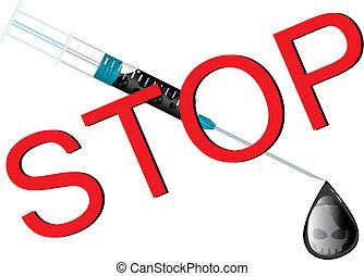 Stop drugs wall sheet, vector illustration
