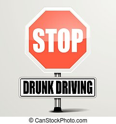 Stop Drunk Driving - detailed illustration of a red stop...