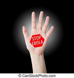 Stop ebola hand leader in black background