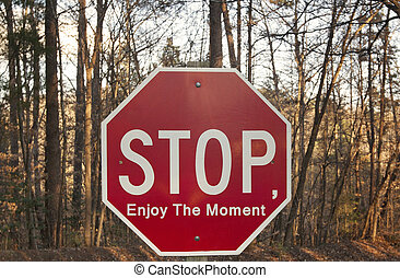 A sign with the phrase Stop, Enjoy The Moment