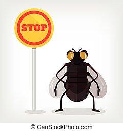 Stop fly vector flat illustration
