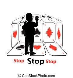 Stop gambling addiction. Danger concept. Illustration