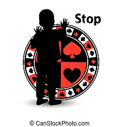 Stop gambling. Poker logo concept
