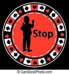 Stop gambling. Poker logo concept. Illustration