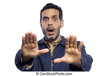 Stop Gesture - blue collar worker gesturing enough is enough