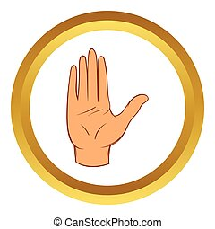 Stop gesture vector icon, cartoon style