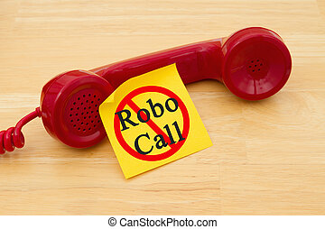 Stop getting a call from a Robocall, Retro red phone handset...