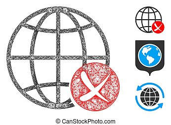 Mesh stop global web polygonal web symbol vector illustration. Carcass model is based on stop global web flat icon. Triangle mesh forms abstract stop global web flat carcass.