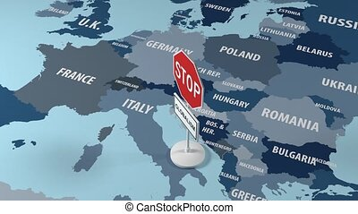 Stop Globalism Across Europe. Map sign. - Stop Globalism...