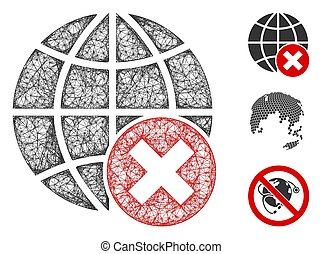 Mesh stop globalization polygonal web symbol vector illustration. Carcass model is based on stop globalization flat icon. Triangle network forms abstract stop globalization flat carcass.