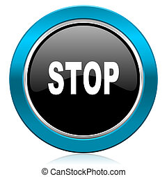 stop glossy icon