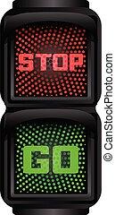Stop go traffic lights icon, cartoon style