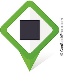 Stop green square pointer vector icon in eps 10 on white background with shadow.