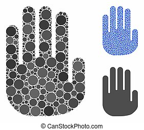 Stop Hand Composition Icon of Circle Dots