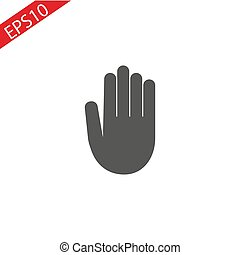 Stop hand Icon in trendy flat style isolated on grey background. Stop symbol for your web site design, logo, app, UI. Vector illustration, EPS10.