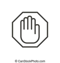 Stop hand icon vector. Line warning symbol isolated. Trendy flat outline ui sign design. Thin linea