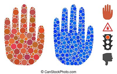 Stop Hand Mosaic Icon of Circle Dots