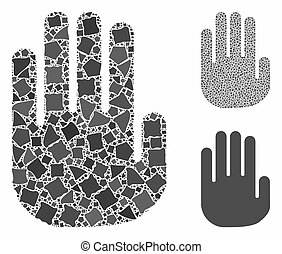 Stop hand Mosaic Icon of Trembly Pieces