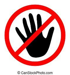 Stop Hand Symbol. Vector illustration.
