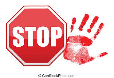 stop handprint illustration design