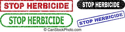 STOP HERBICIDE grunge stamps. Flat vector grunge stamps with STOP HERBICIDE tag inside different rectangle and rounded frames, in blue, red, green, black color variants.