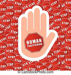 stop humain trafficking background illustration in colorful