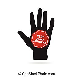 stop humain trafficking icon illustration with hand in...