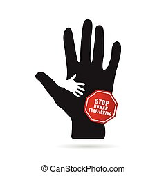 stop humain trafficking icon illustration in colorful