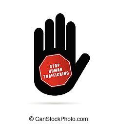 stop humain trafficking logo illustration in hand
