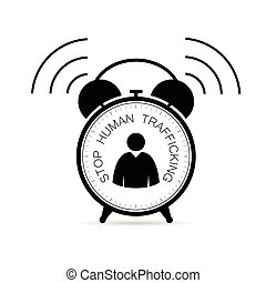stop human trafficking in clock illustration - stop human...