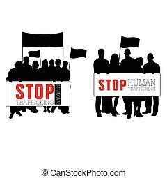 stop human trafficking with people silhouette illustration -...