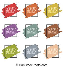 stop human traffickung sing and symbol in different color