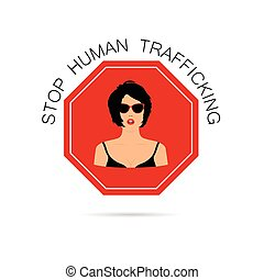 stop human traffickung with women illustration