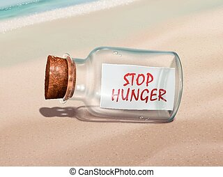 stop hunger message in a bottle isolated on beautiful beach
