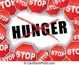 Vector illustration of hunger concept background