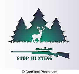Stop hunting animal. - Concept of stop hunting animal with...